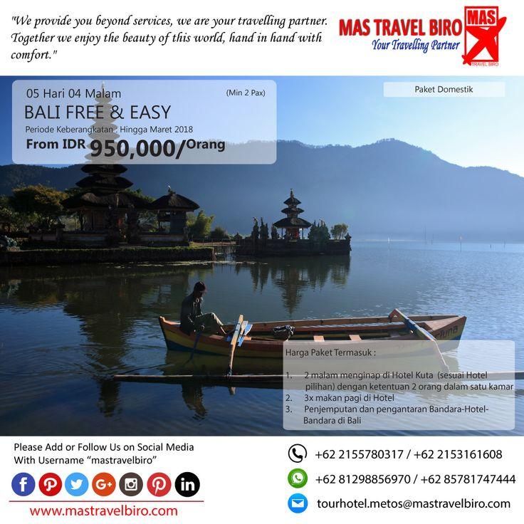 Promo Tour BALI FREE & EASY, Yuks di pilih masih banyak lagi promo Tour Domestik dan Internasional😊  (Paket tour belum termasuk tiket pesawat)  Beli tiket pesawat & KAI, booking hotel dan beli paket tour diMas Travel Biro ajaa.  #mastravelbiro #promotiket #travelservices #tiketpesawat #travelagent #tourtravel #travelindonesia #opentrip #familytour