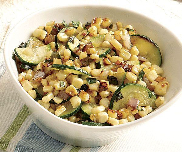 Charred Corn and Zucchini with Basil recipe