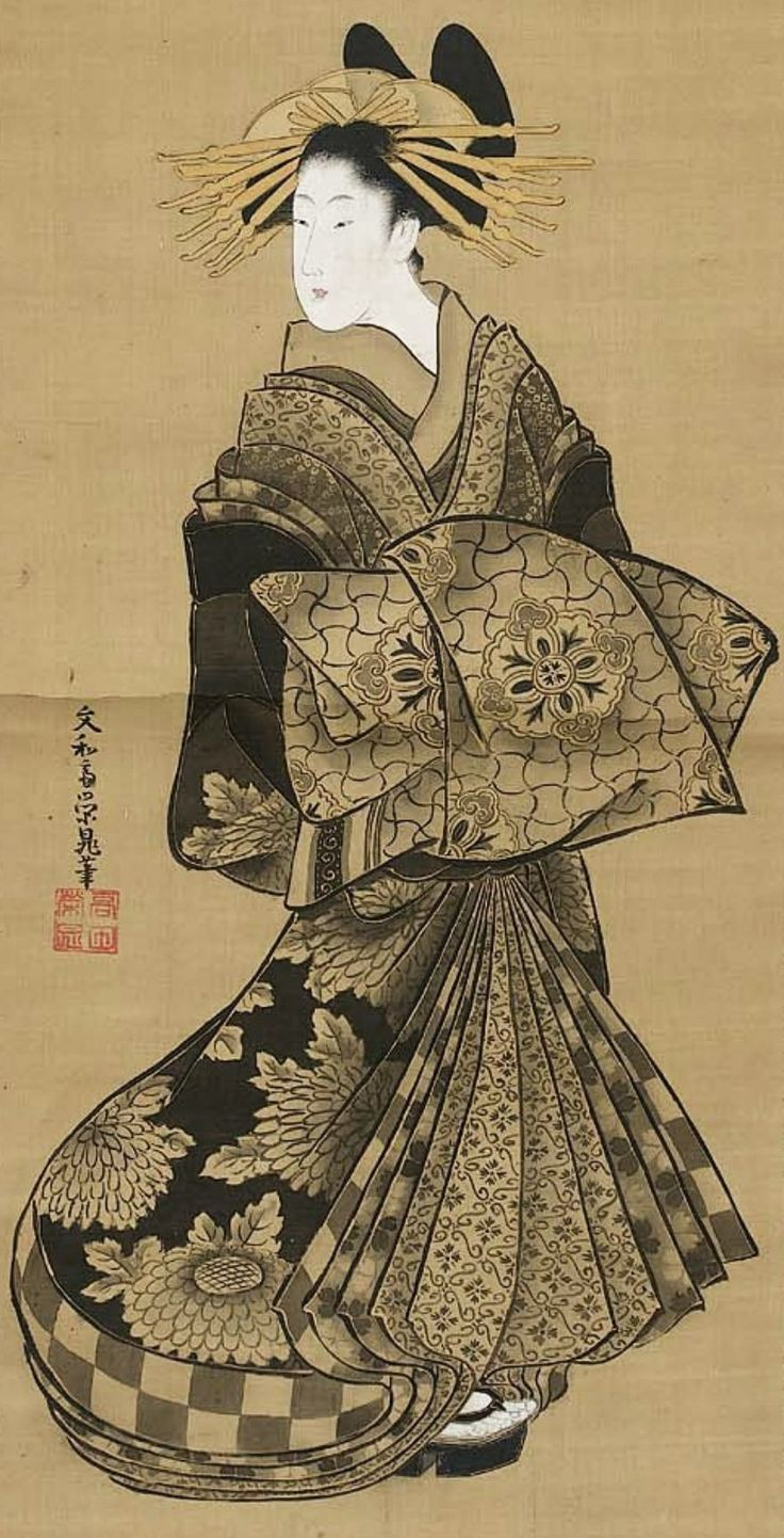 Standing Courtesan.  Main detail of a hanging scroll; ink and color on silk, 1789-1804 ,  Japan, by artist Bunnasai Eicho.  MFA (William Sturgis Bigelow Collection).