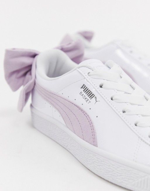 new concept 5ff71 c8440 Puma Basket Pink Bow White Sneakers   My closet in 2019 ...