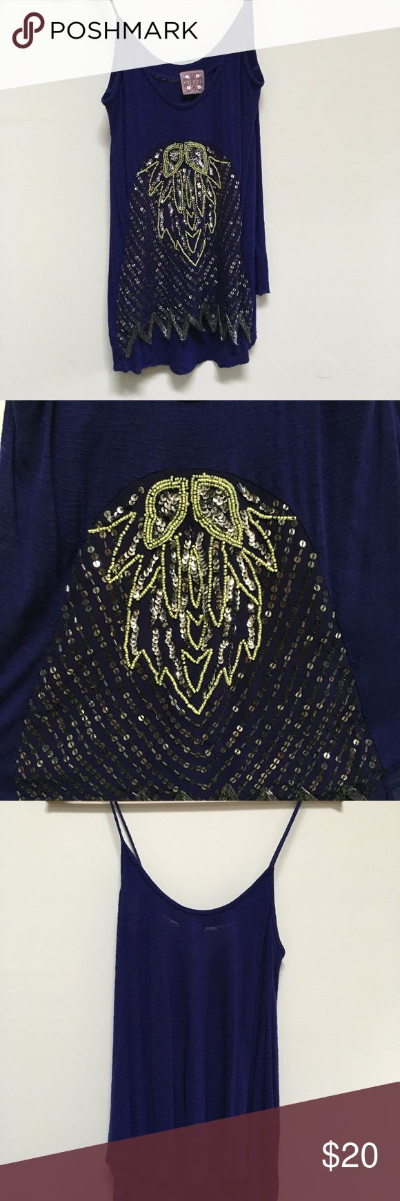 Free People Sequin Design Tank Top Size small. Gorgeous sequin tank top from Free People. Heavy front from the stitched-in sequins. Free People Tops Tank Tops