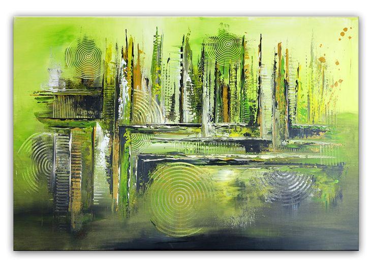 BURGSTALLER Original Gemälde Gras grün 80x120 abstrakte Malerei Bild Gemälde