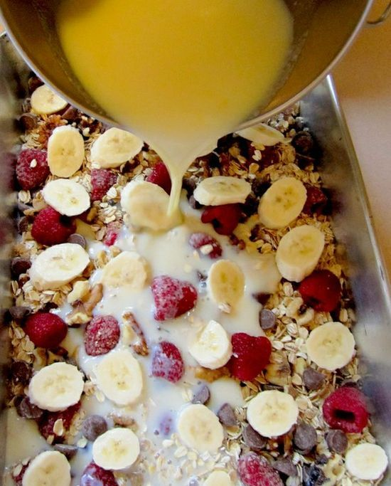 Baked Oatmeal Casserole.    Ingredients  2 cups gluten-free rolled oats  1/3 cup brown sugar  1 teaspoon baking powder  1 teaspoon cinnamon  1/2 teaspoon salt  1 cup walnut pieces  1 cup raspberries {any berries work}  1/2 cup milk chocolate chips  2 cups milk  1 large egg  3 tablespoons butter, melted  1 tablespoon vanilla extract  1 ripe