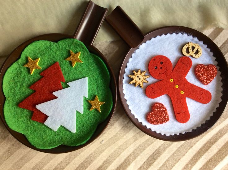 Christmas ornaments on a recycled plastic saucer #2