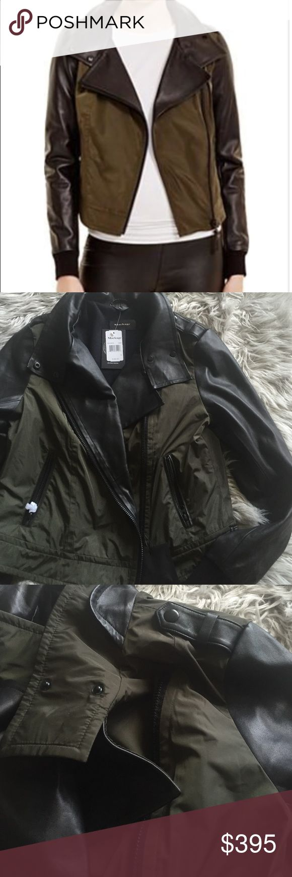 Mackage jacket Brand new Army green & leather Mackage jacket Mackage Jackets & Coats