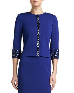 B2H84 St. John Collection Milano Knit Jewel Neck 3/4-Sleeve Jacket with Hand Beading