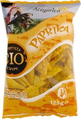 ACAPULCO tortilla chips paprika bio 125gr ACAPULCO sont de délicieuses chips tortilla au paprika à base de maïs. Ces chips sont un délice à croquer devant la télé. Chips bio sur www.chockies.net