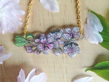 Pink Cherry Blossom Necklace and Earring Gift Set - Floral Branch - Cascading Blossom