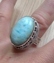 Zilveren edelsteen ring Larimar in bewerkte setting 17.3 mm. | Zilveren Edelsteen Ringen | Zilveren Edelsteen Sieraden | Stones and Silver W...