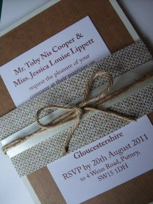 invitations - burlap and ribbon accent - would do different color and font