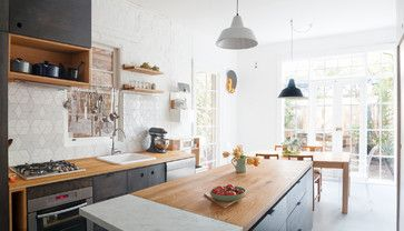 Industrial Style Kitchens Design Ideas, Pictures, Remodel and Decor / like the marble slab at end of island