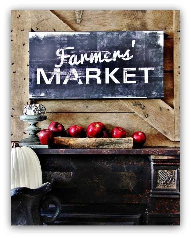 Fall Home Tour Great black and white Farmer's Market sign. The apples add the perfect touch of red.