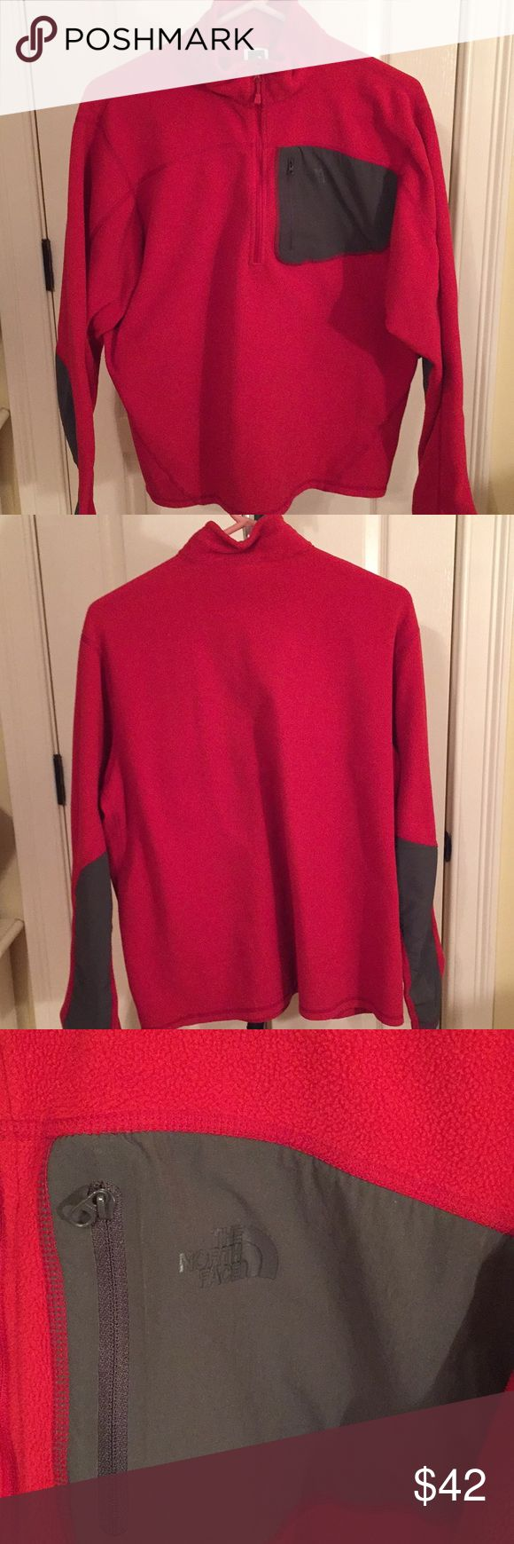Mens North Face jacket size LARGE Red North Face jacket with grey accents. 3/4 zip. Nice condition. Size large North Face Jackets & Coats Lightweight & Shirt Jackets