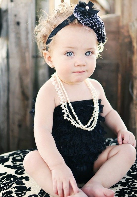 love!Little Girls, Photos Ideas, Rompers, Pearls, Pictures, Baby Girls, Kids, Headbands, Black