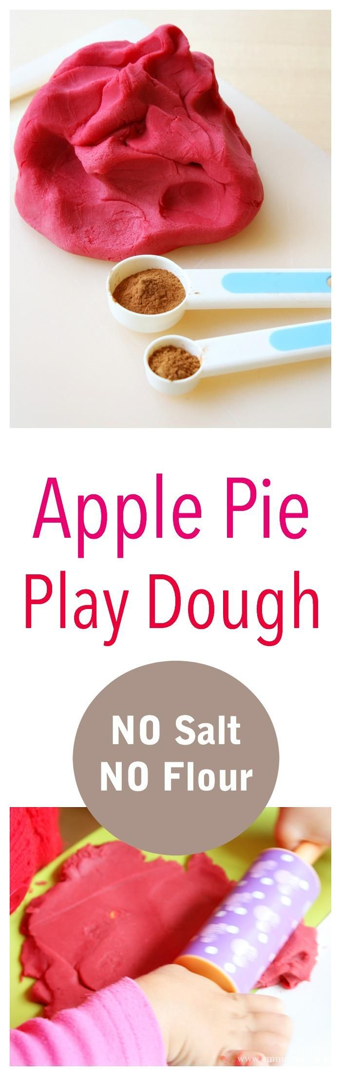 Freshly baked apple pie play dough. This play dough is a little different to the ones we usually make - as it contains NO salt and NO flour! Smooth as silk!