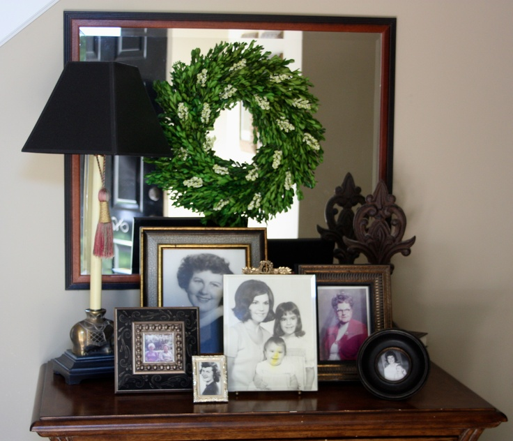 Decorating table in dining room.  Like wreath on mirror.  Wreath from Target $39.99 Online Price.  Smith and Hawken® Boxwood Wreath