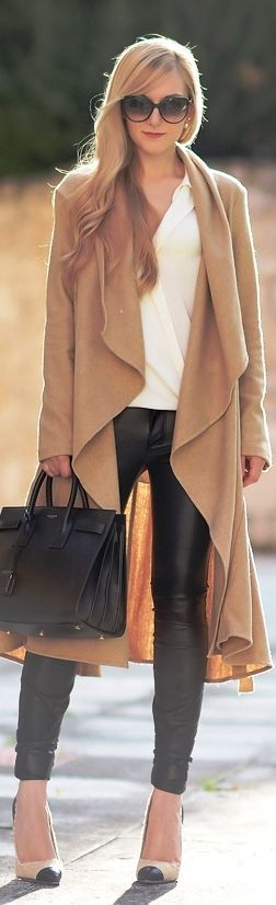 Poncho and Leather - Classic Street Outfits