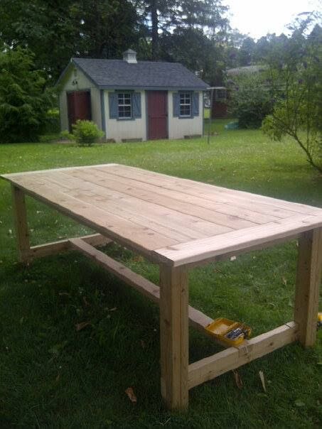 Outdoor Farmhouse Table made of Cedar | Do It Yourself Home Projects from Ana White
