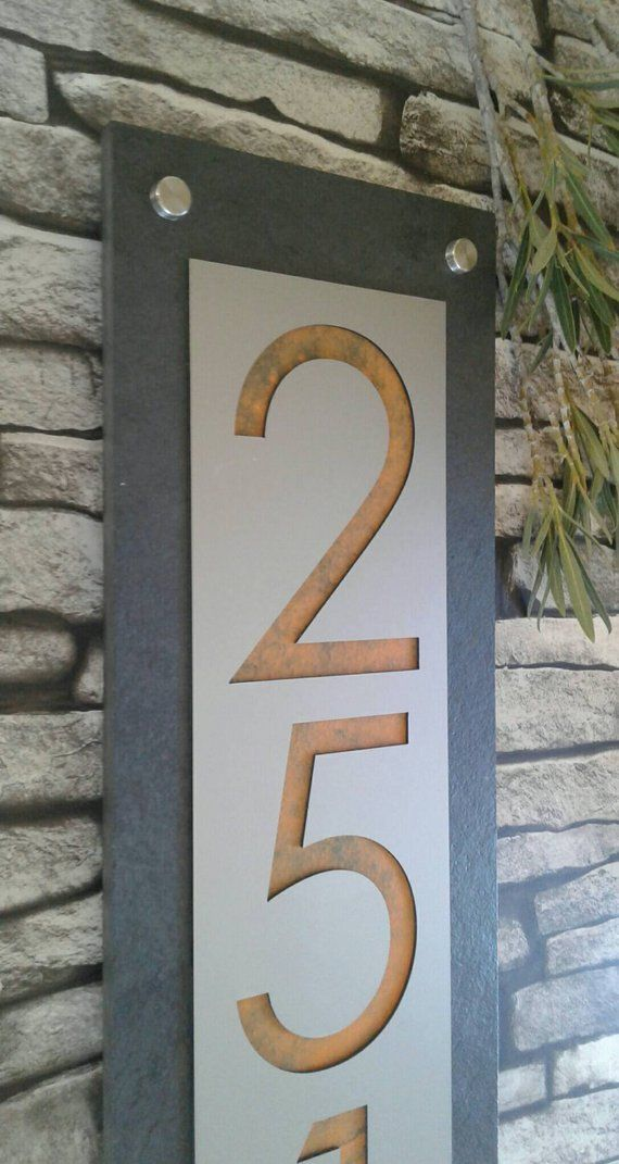 Modern House Numbers Mid Century Vertical Address Plaque Etsy House Numbers Address Plaque Modern House Number