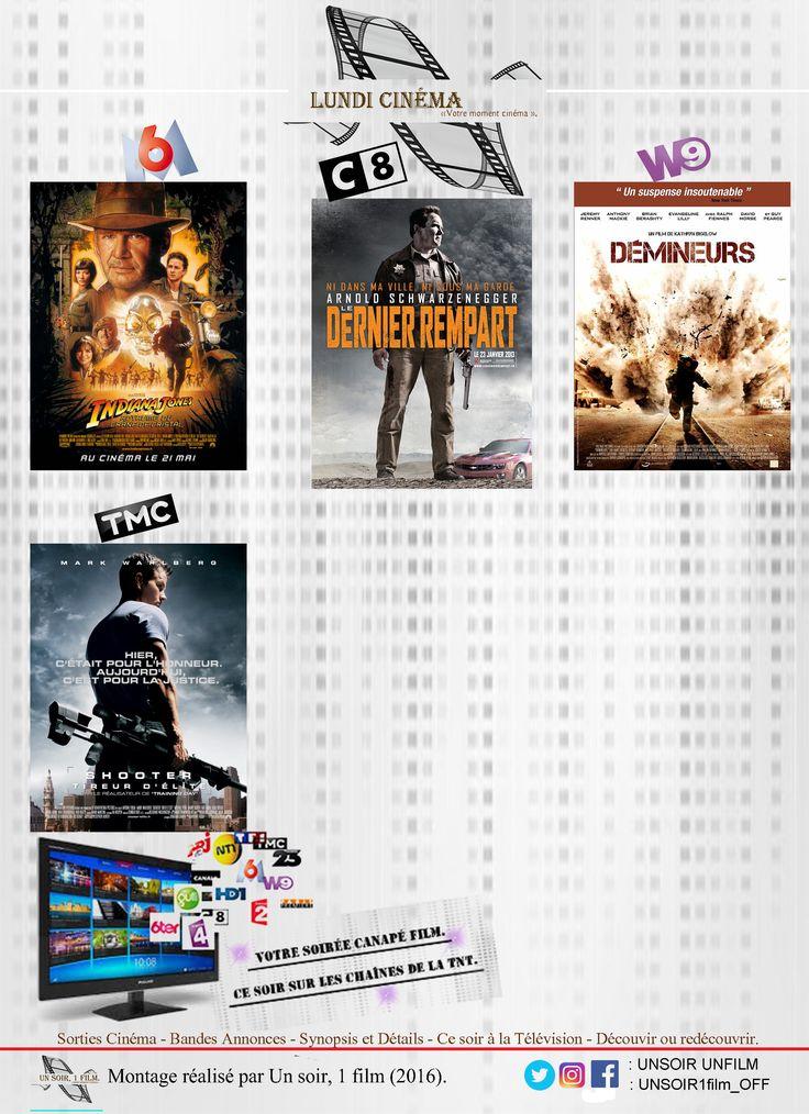 Retrouvez à 20hr50 sur les chaînes de la TNT:  - M6, Indiana Jones et le royaume du crâne de cristal Bande annonce: https://youtu.be/wp7rEFftnEw  - C08, Le dernier rempart. Bande annonce: https://youtu.be/DBZZHzCORWw  - W9, Démineurs. Bande annonce: https://youtu.be/mH-6A7pF7Bs  - TMC, Shooter: tireur d'élite. Bande annonce: https://youtu.be/PotRkNvkEpI  Quel sera votre Lundi cinéma ?   Bon film à tous.