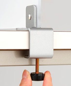 Edge Clamp Mounting For Frosted Acrylic Desk Dividers.