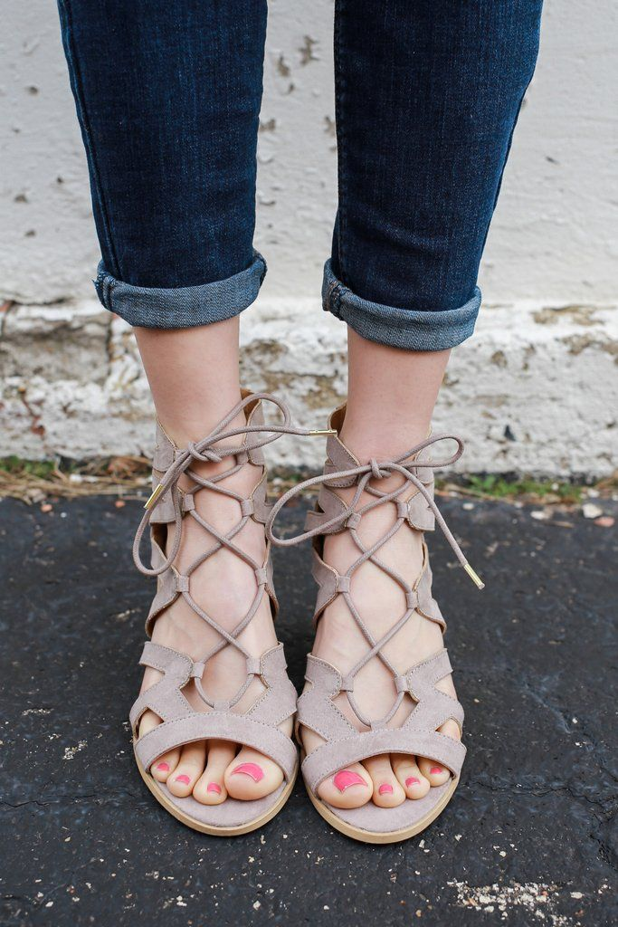 Taupe Faux Suede Gladiator Style Lace Up Heeled Sandal Dalton-01X – UOIOnline.com: Women's Clothing Boutique