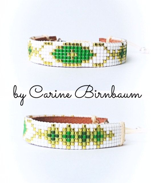 Loom beaded bracelet, Beaded bracelet, Leather bracelet, Single Wrap Leather Bracelet, Mix Beaded, handmade, bracelet by CarineBirnbaum on Etsy