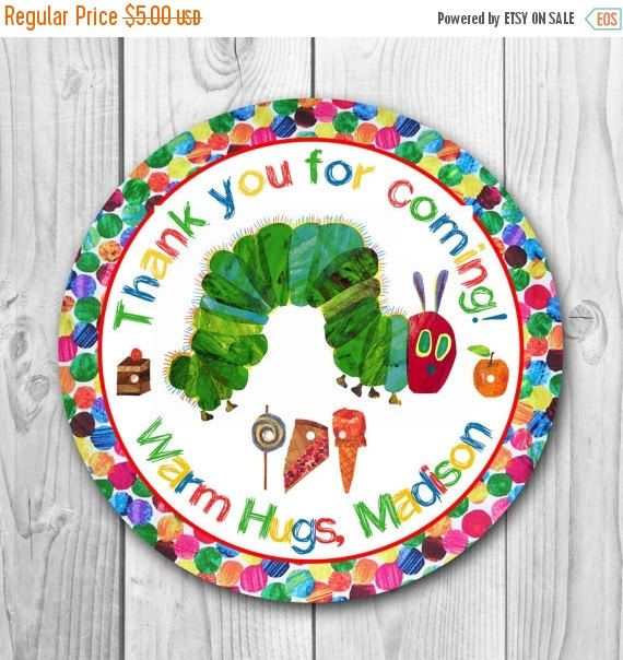 ON SALE 35% Very Hungry Caterpillar Labels  by CuteInvitation1