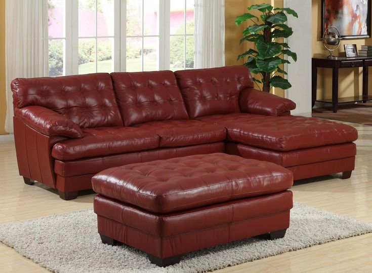 Homelegance 9817 All Leather Sectional Sofa Set   Red