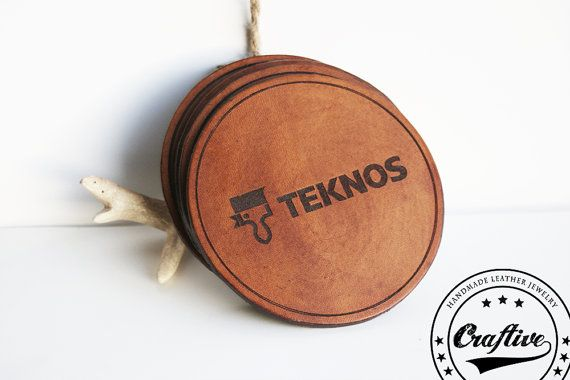 """These #personalized leather coasters are the perfect gift for company costumers, associates or employees or maybe to sell with your own logo.  {Measure} 3.34"""" X 3.34"""" 8.5 cm..."""