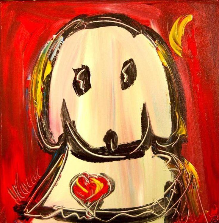 CUTE DOG   MODERNIST CONTEMPORARY ORIGINAL OIL  CANVAS ART DECOR SIGNED BY KAZAV