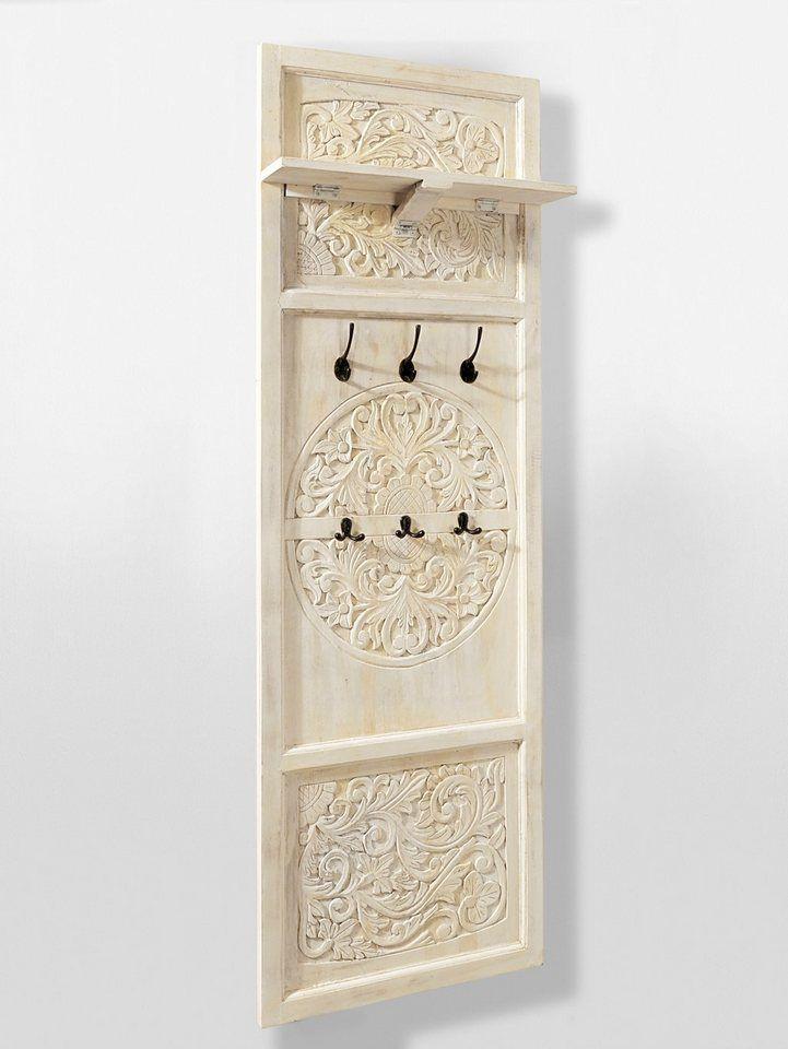 7902c6bf23e82a heine home Wandgarderobe für 269,99€. Kunsthandwerkliche Fertigung,  Handgeschnitzte Ornamente, Aus massivem Mangoholz cremefarben gewischt bei  OTTO