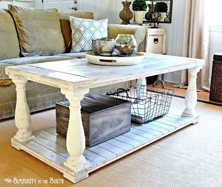make this easy rustic farmhouse coffee table with balustrades or country style legs and whitewash