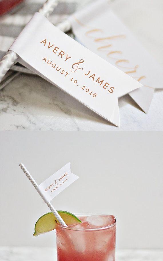 printable diy wedding straw flags
