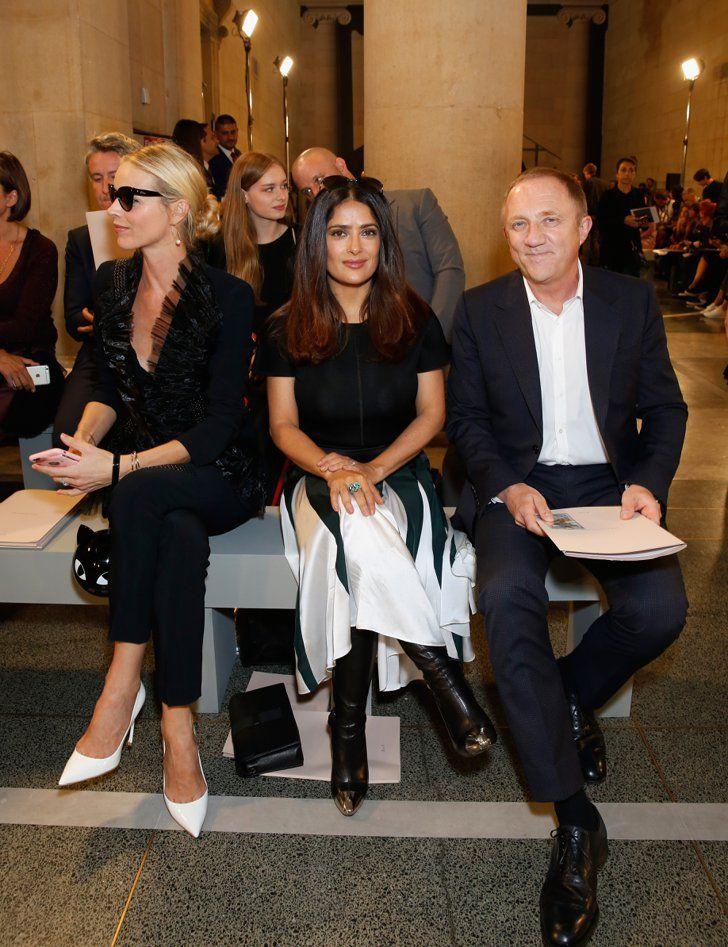 Don't Miss a Single Celebrity at London Fashion Week Day 4 Eva Herzigova, Salma Hayek, and Francois-Henri Pinault at Christopher Kane.