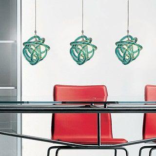 jesco 1light handblown glass pendant with canopy teal glass shade and bronze socket art glass