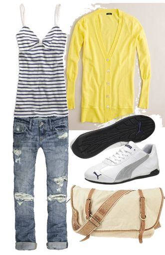 No stripes. Add Nikes..... although i do like Puma.... like this look for spring.    Love this casual spring look