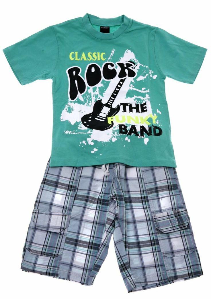 Παιδικά ρούχα AZshop.gr - Funky παιδικό σετ μπλούζα-παντελόνι βερμούδα «Classic Band» €19,90