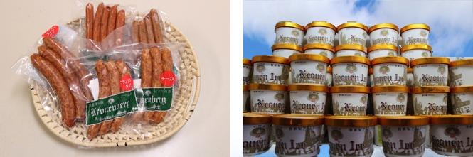 Okayama 岡山(おかやま) 岡山農業公園 ドイツの森 自家製ソーセージ、自家製アイスクリーム工房  手作りソーセージ、自家製アイスクリーム 夏到来!! 夏の一番人気のドイツの森自家製アイスクリーム。 また、定番人気の自家製ソーセージ。 お土産用として街エリアの「マイスターショップ ミューレ」でお買い求めになれます。