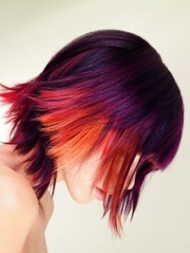 These are panels of color, done with hair extensions. Super cool!