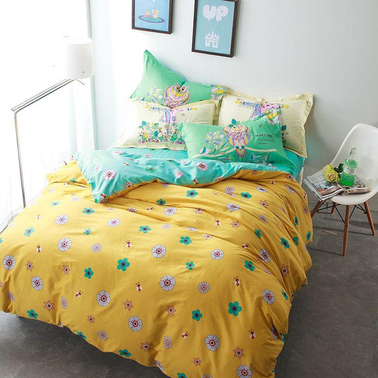 Bee elegante gloral beddengoed set katoenen blauw en geel dekbedovertrek hoofd…