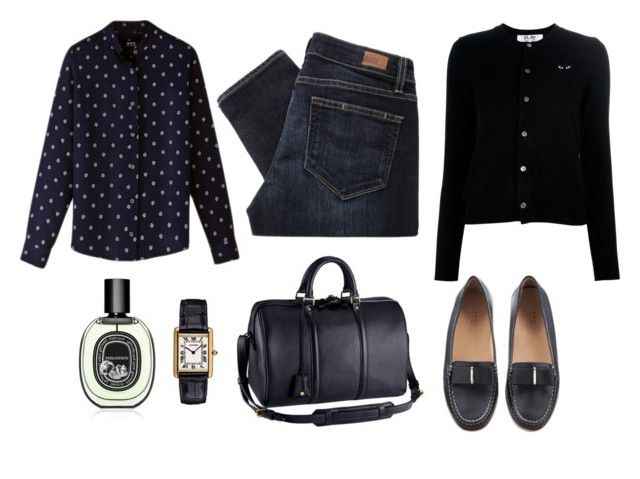 """..."" by tomorrowsparties ❤ liked on Polyvore featuring Louis Vuitton, A.P.C., Paige Denim, Comme des Garçons and Diptyque"