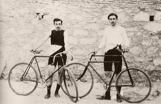 1896 - French Olympic Cyclists    Léon Flameng and Paul Masson.    Athens 1896. Games of the I Olympiad. French compatriot cyclists Léon Flameng and Paul Masson. Between them they won 6 medals in the track cycling events (gold in the 100km, silver in the 10 km and bronze in the sprint events for Flameng ; three times gold in the 10km, 1km and sprint events for Masson) - Annie was cycling hero in France only a year earlier!