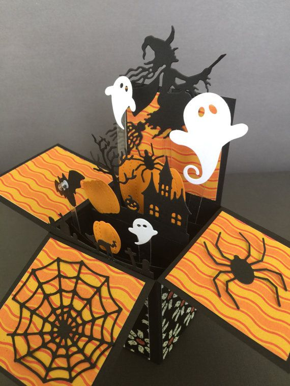 Halloween pop up card - Flying witch pop up box card - 3D halloween card in a box - pumpkins, bats, spiders and ghosts