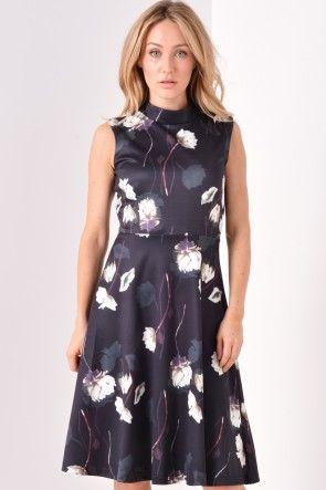 Melissa Floral High Neck Dress in Black