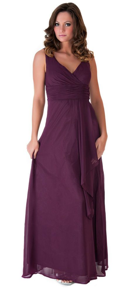 BL111 Purple V-neck evening gown Bridesmaid Wedding party prom formal dress XL