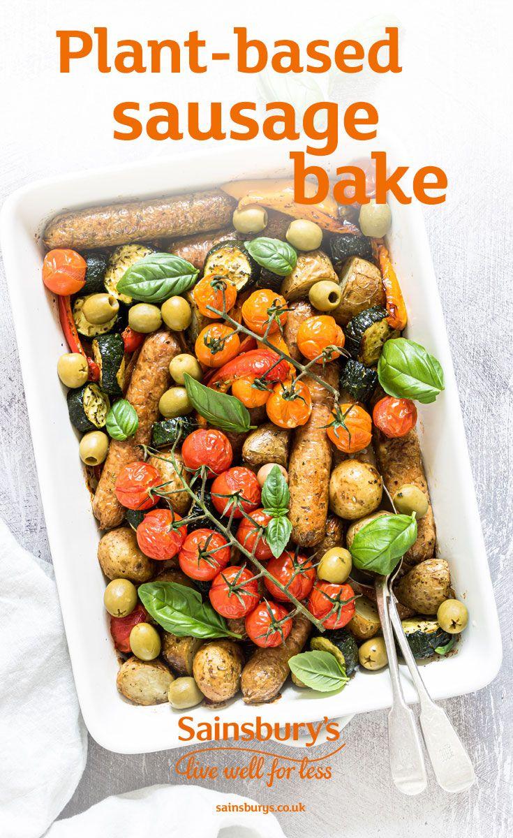 Honey And Mustard Sausage Tray Bake Recipe Sausage Tray Bake Tray Bakes Vegetarian Sausages