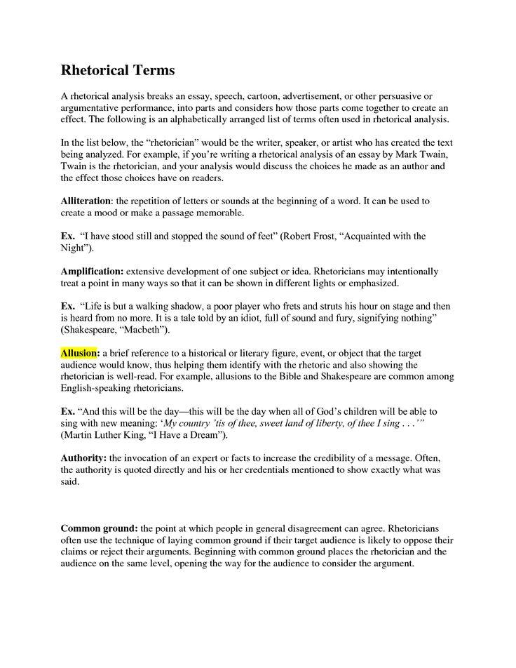 speech analysis template   Rhetorical Terms A rhetorical analysis breaks an essay speech
