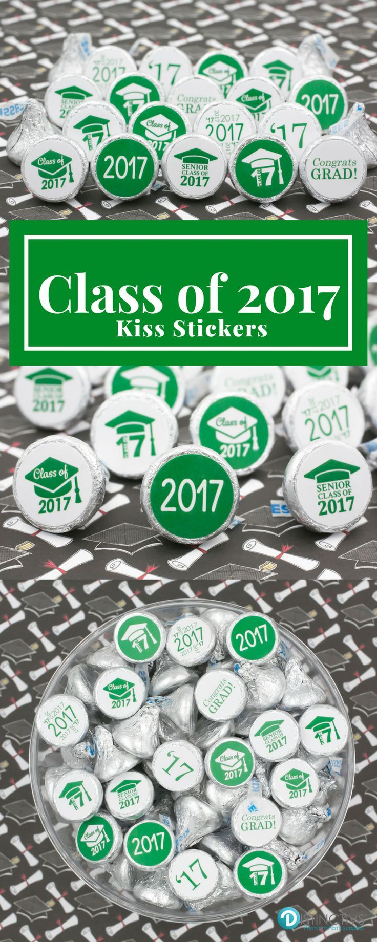 Add these Green Class of 2017 Graduation Party Favor Stickers to a Hershey's Kiss for a simple and easy party favor or table decoration.