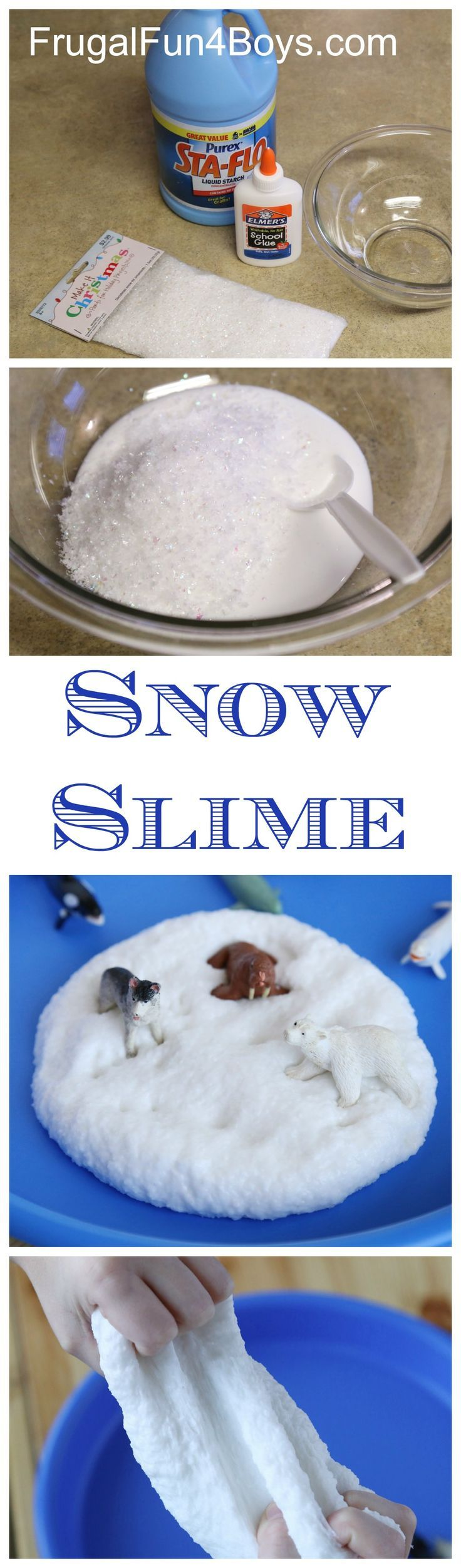 How to Make Snow Slime - This stuff stretches and squishes and sparkles like snow!  Fun winter activity for kids.
